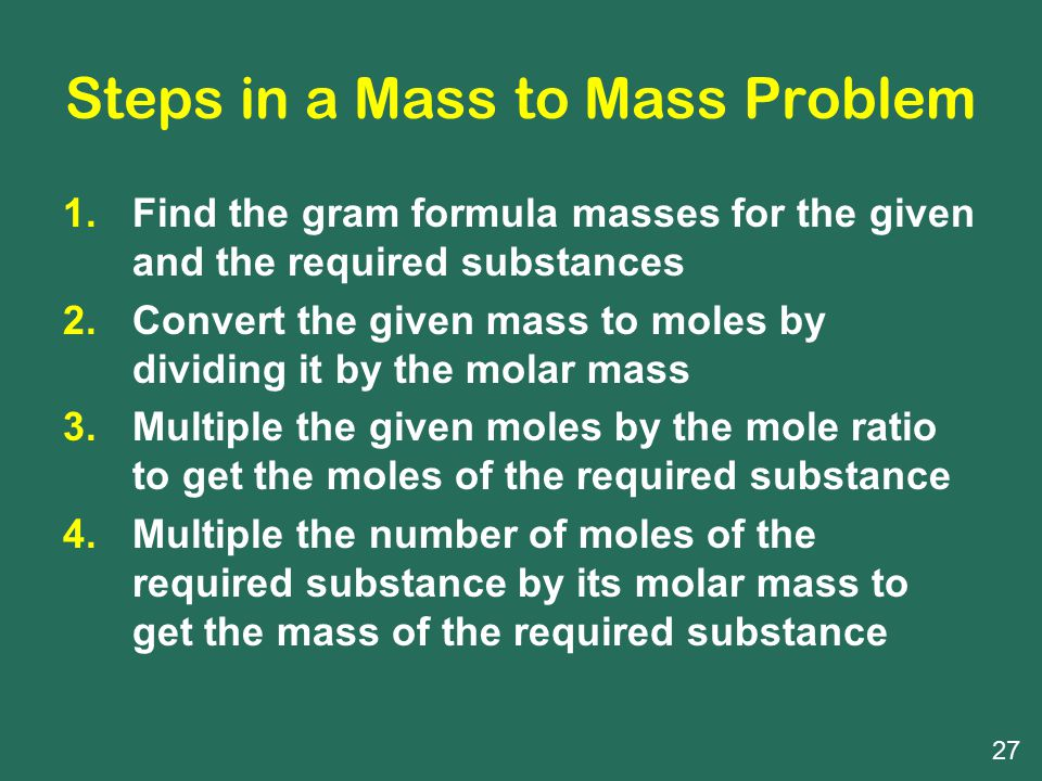 Steps in a Mass to Mass Problem