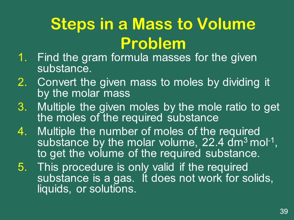 Steps in a Mass to Volume Problem