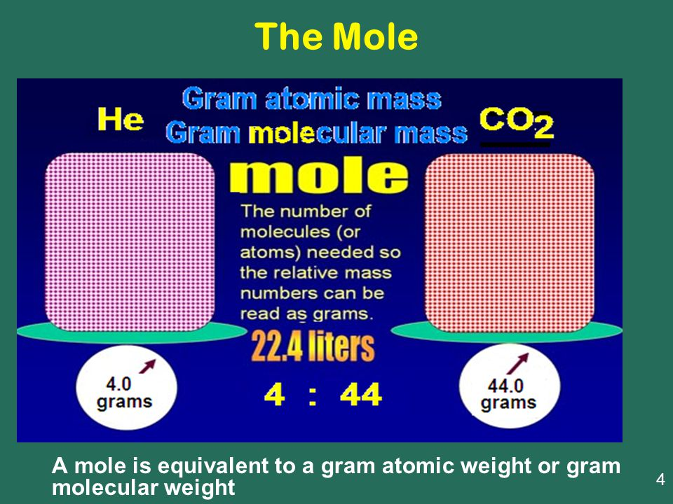The Mole A mole is equivalent to a gram atomic weight or gram molecular weight 4