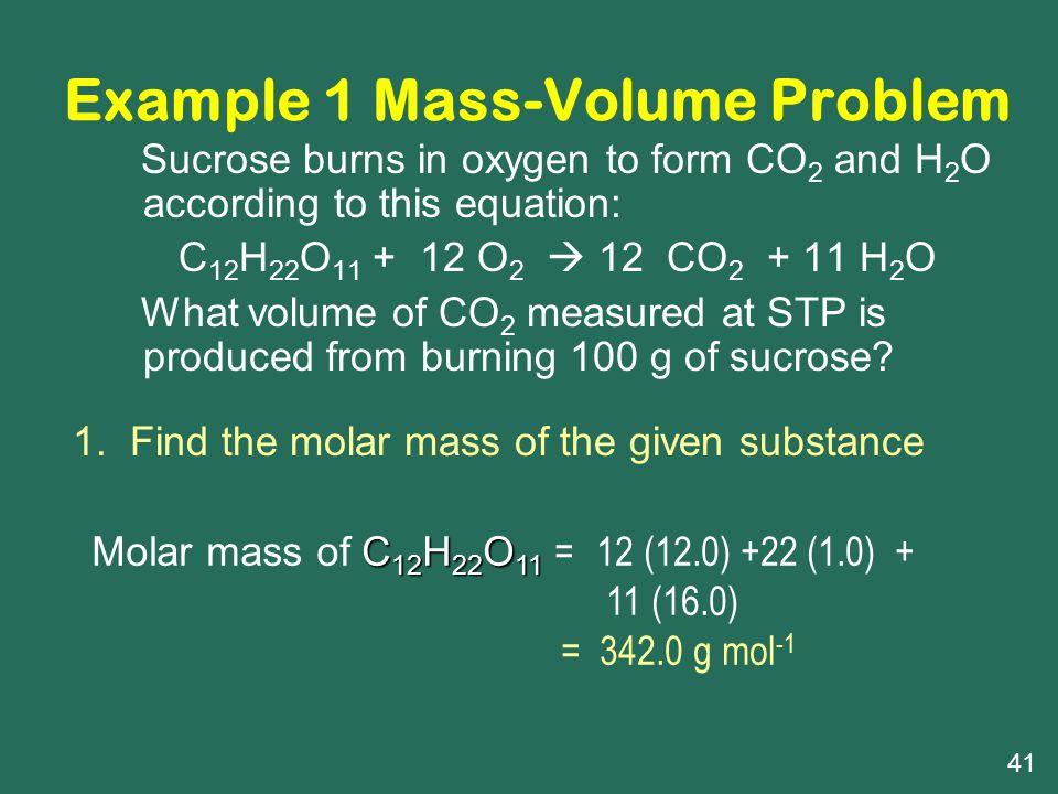 Example 1 Mass-Volume Problem