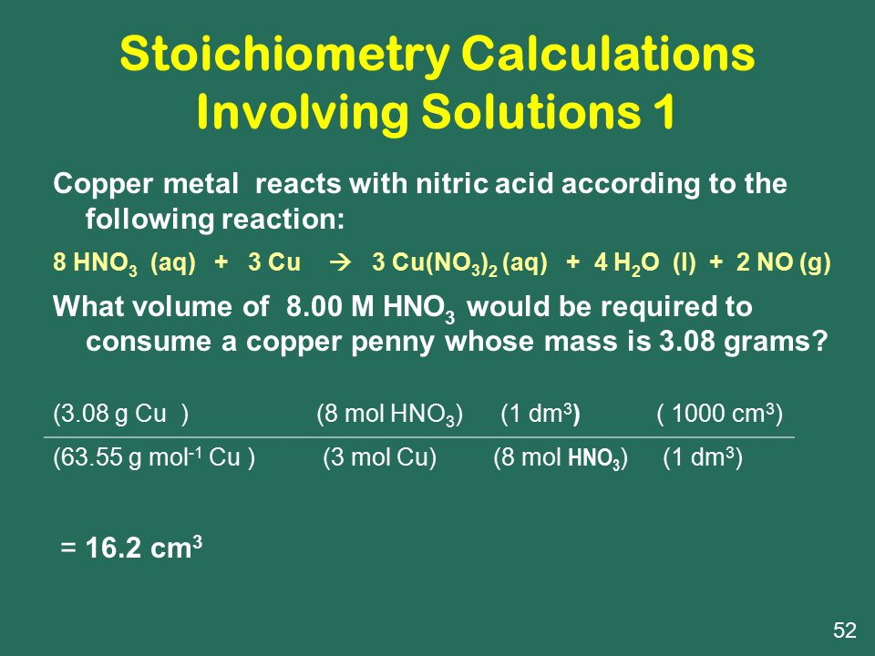 Stoichiometry Calculations Involving Solutions 1