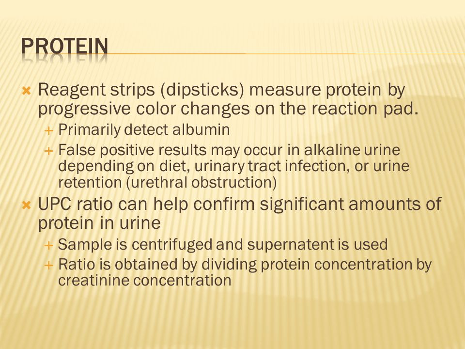 Protein Reagent strips (dipsticks) measure protein by progressive color changes on the reaction pad.