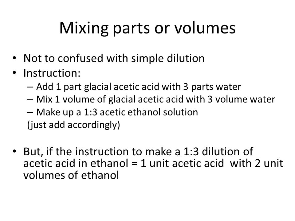 Mixing parts or volumes