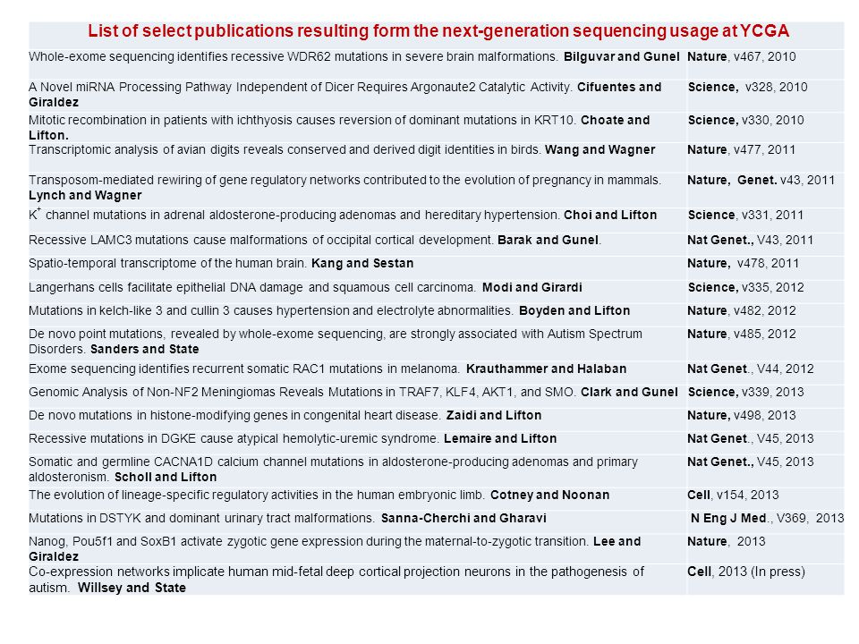 List of select publications resulting form the next-generation sequencing usage at YCGA