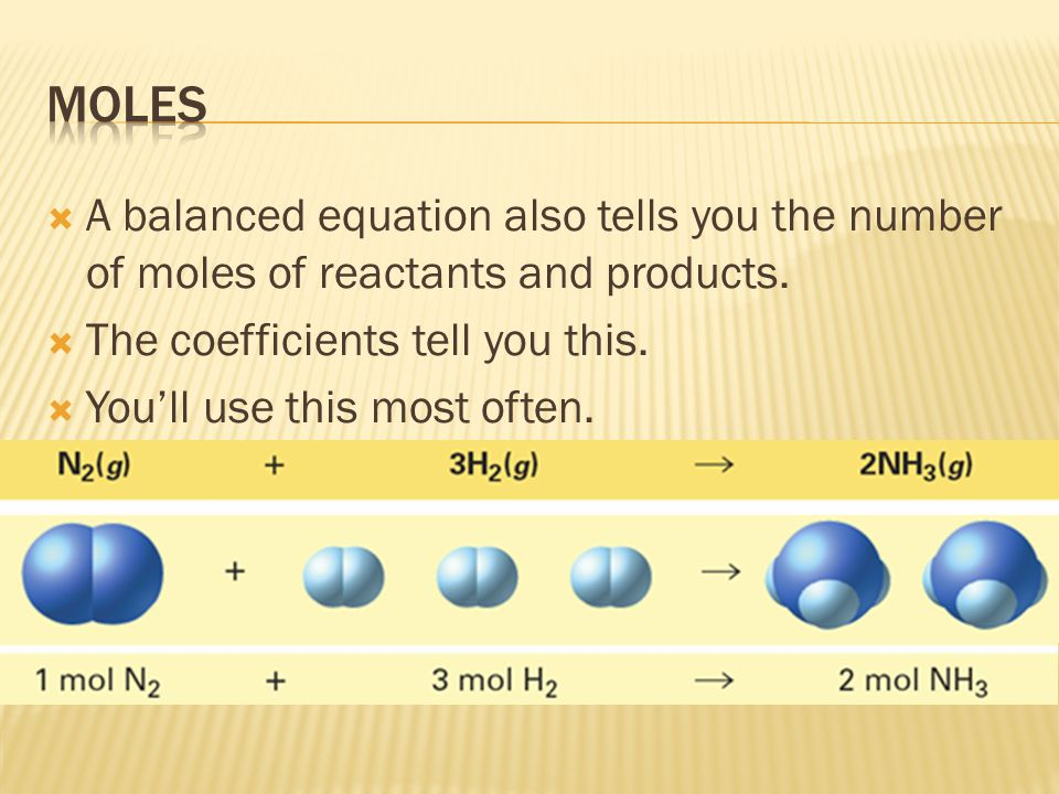 moles A balanced equation also tells you the number of moles of reactants and products. The coefficients tell you this.