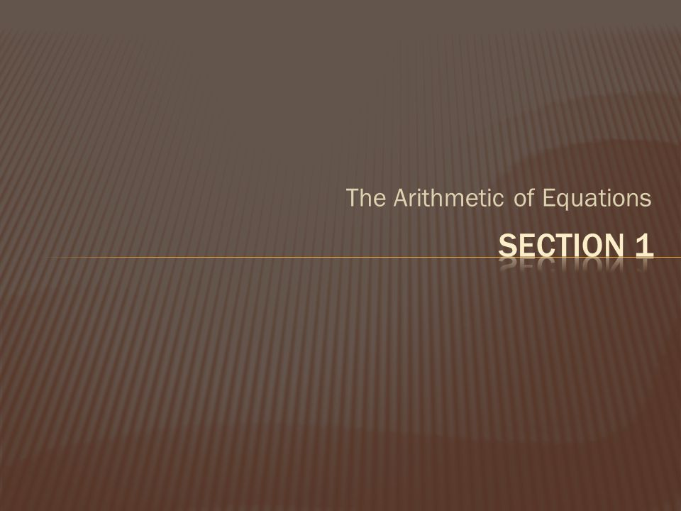 The Arithmetic of Equations