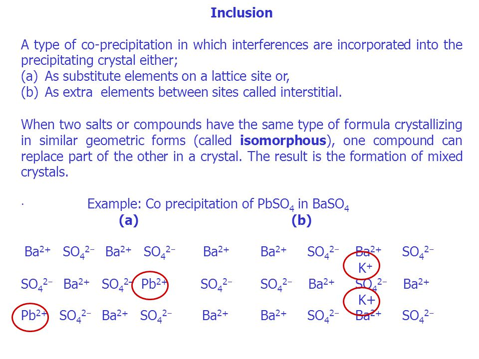 Inclusion A type of co-precipitation in which interferences are incorporated into the precipitating crystal either;