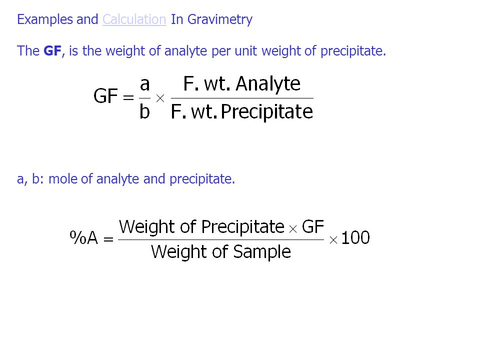 Examples and Calculation In Gravimetry
