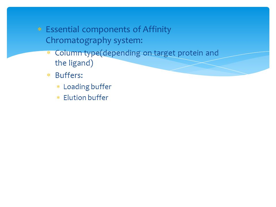 Essential components of Affinity Chromatography system: