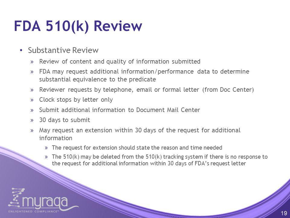FDA 510(k) Review Substantive Review