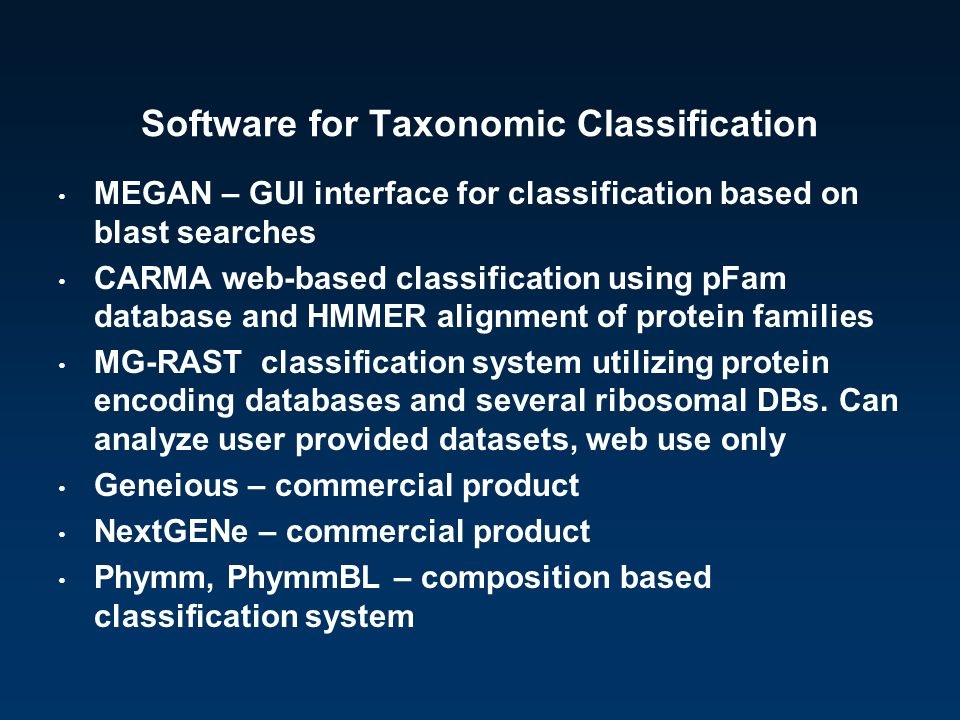 Software for Taxonomic Classification