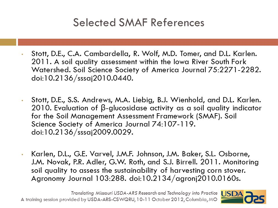 Selected SMAF References