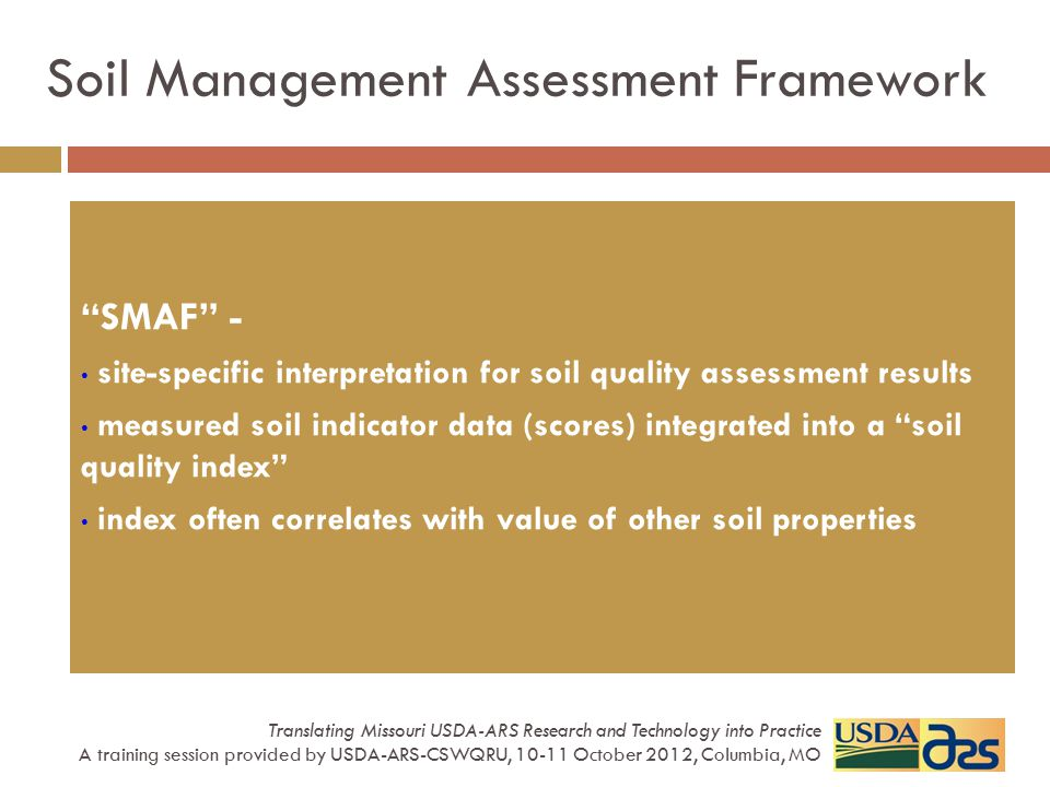 Soil Management Assessment Framework
