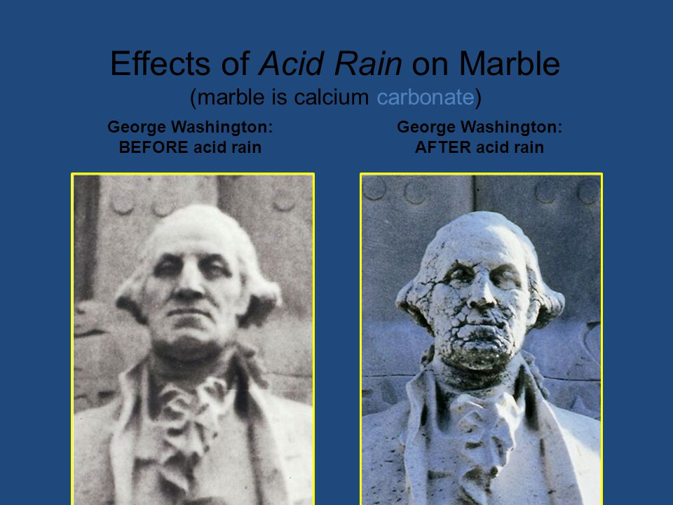 Effects of Acid Rain on Marble (marble is calcium carbonate)