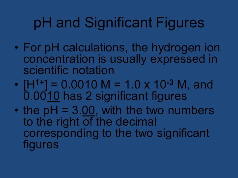pH and Significant Figures