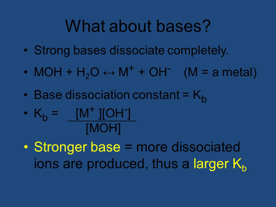 What about bases Strong bases dissociate completely. MOH + H2O ↔ M+ + OH- (M = a metal) Base dissociation constant = Kb.