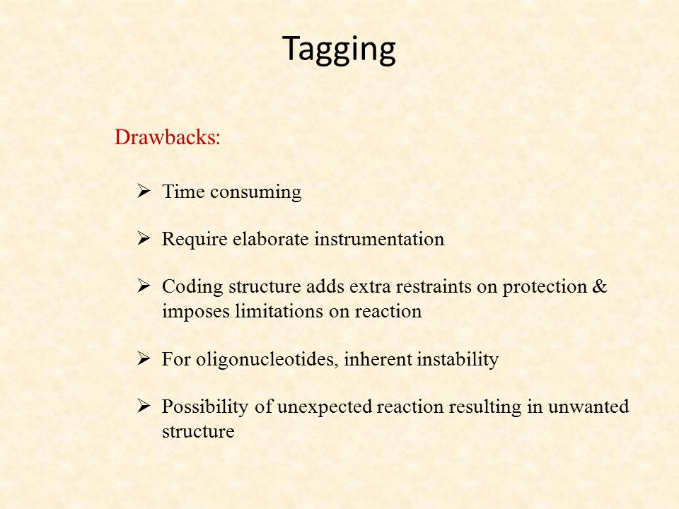 Tagging Drawbacks: Time consuming Require elaborate instrumentation