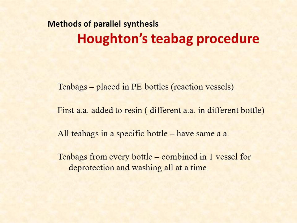 Methods of parallel synthesis Houghton's teabag procedure