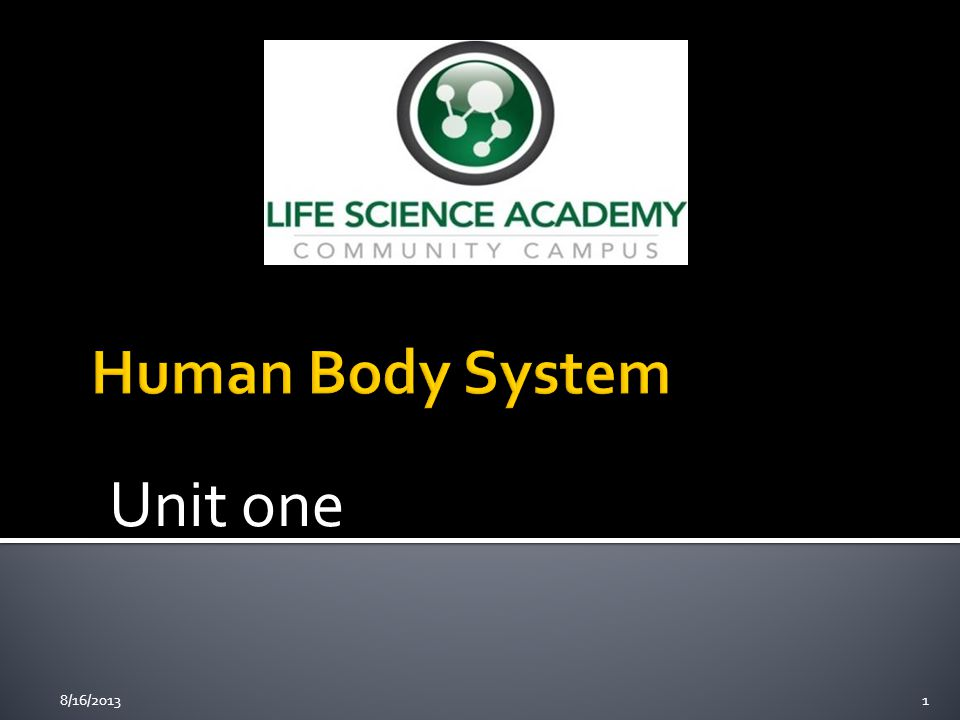 Human Body System Unit one 8/16/2013