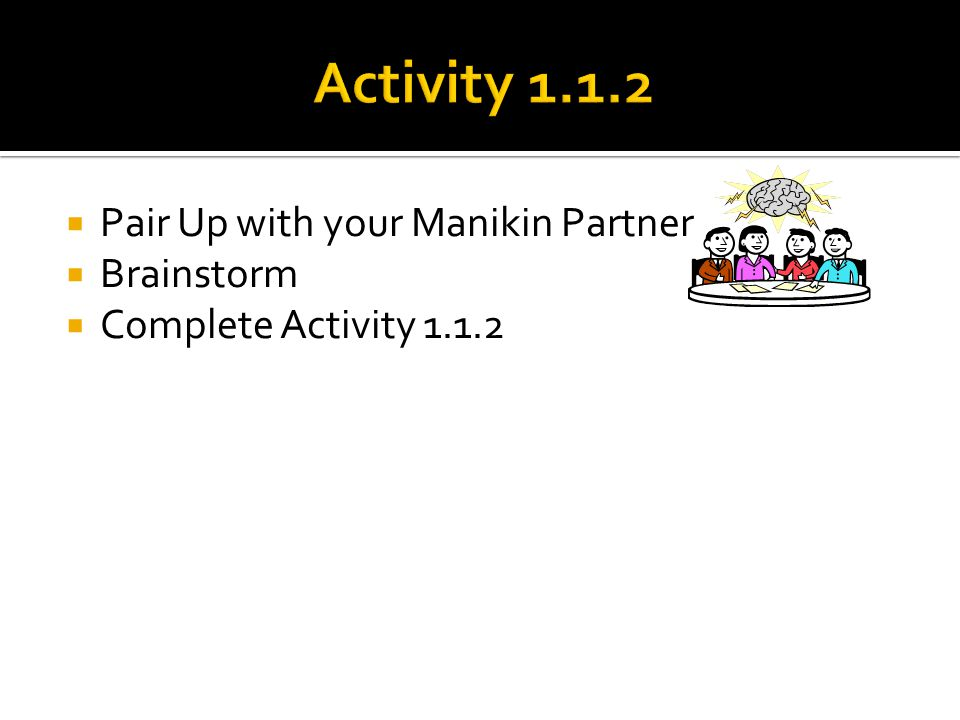 Activity 1.1.2 Pair Up with your Manikin Partner Brainstorm