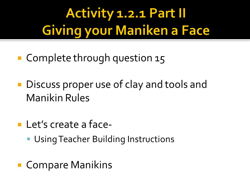 Activity 1.2.1 Part II Giving your Maniken a Face