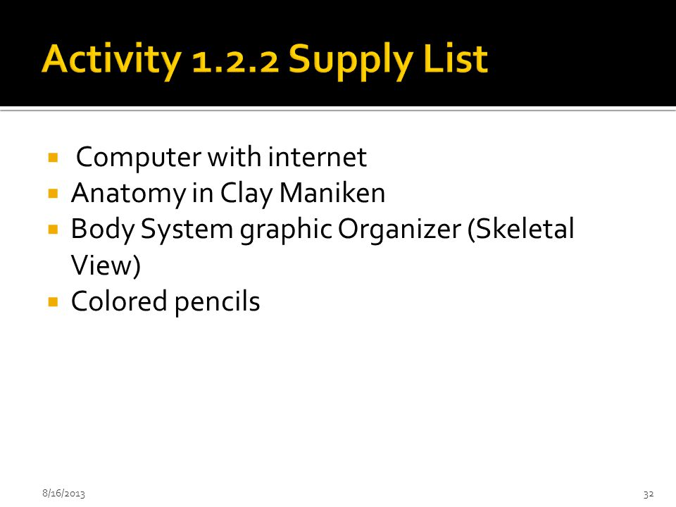 Activity 1.2.2 Supply List Computer with internet
