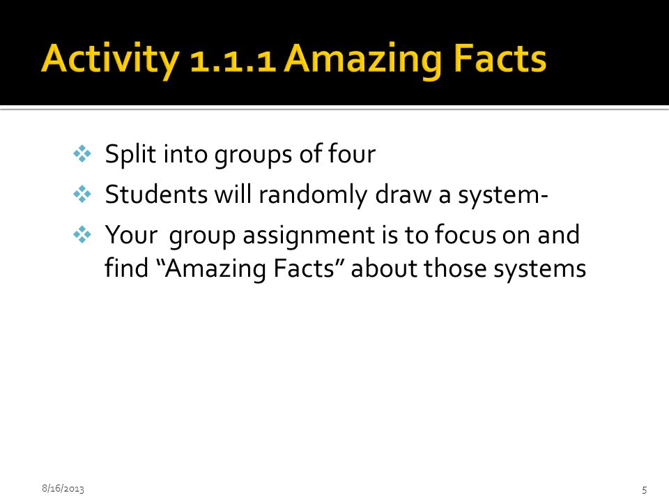 Activity 1.1.1 Amazing Facts