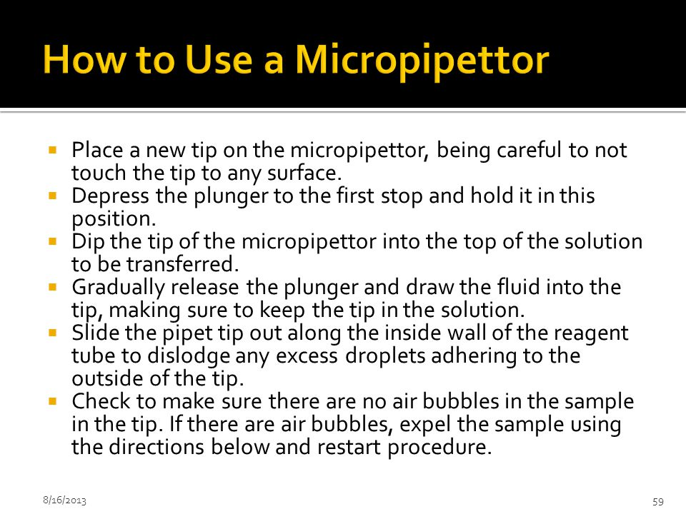 How to Use a Micropipettor