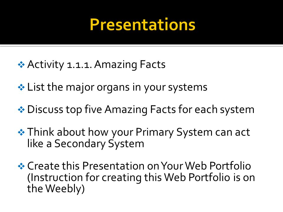 Presentations Activity 1.1.1. Amazing Facts