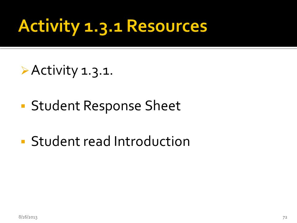 Activity 1.3.1 Resources Activity 1.3.1. Student Response Sheet