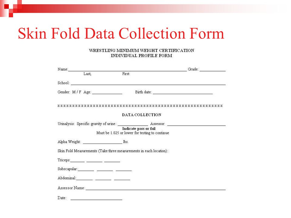 Skin Fold Data Collection Form