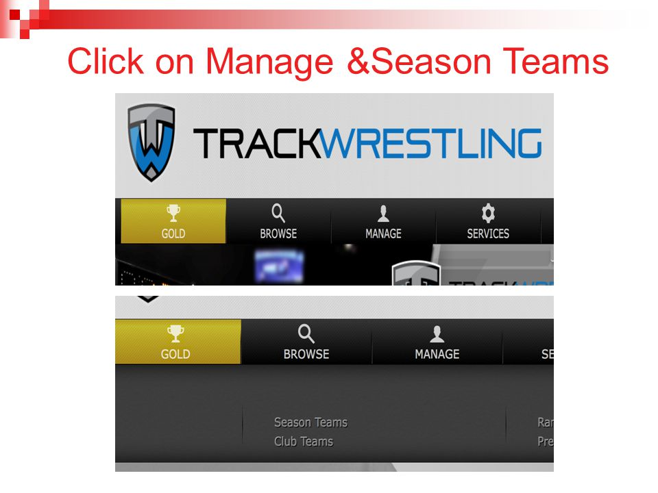 Click on Manage &Season Teams