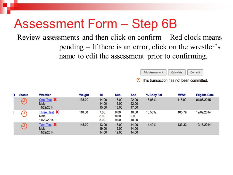 Assessment Form – Step 6B
