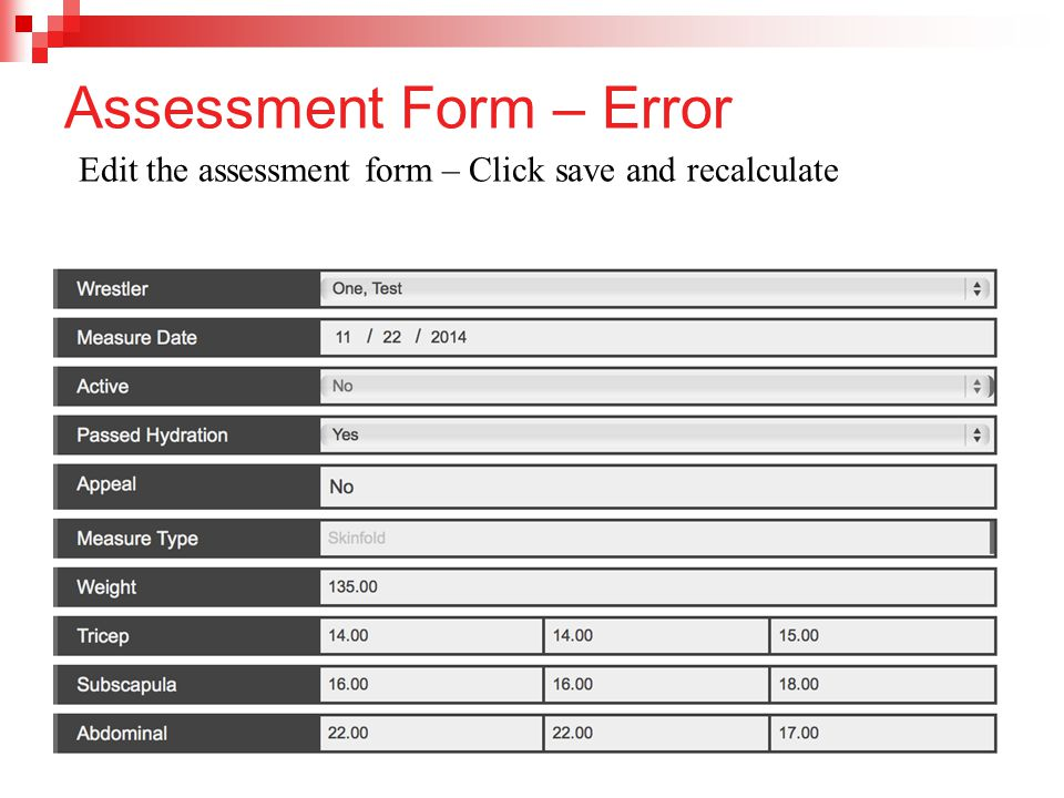 Assessment Form – Error