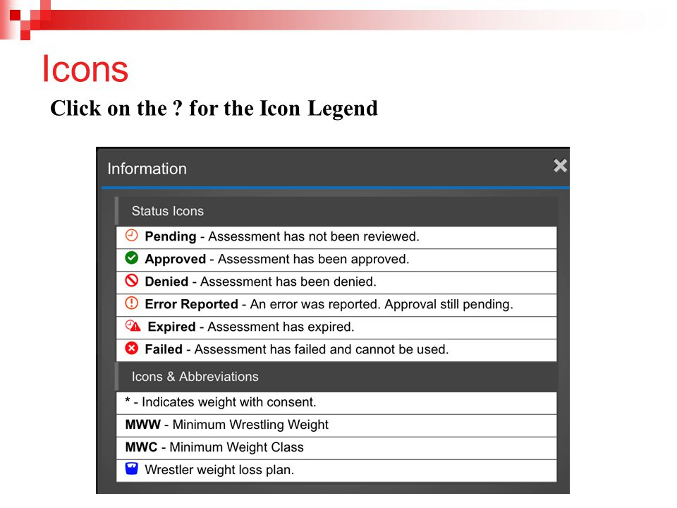 Icons Click on the for the Icon Legend