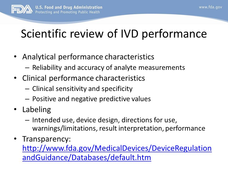 Scientific review of IVD performance