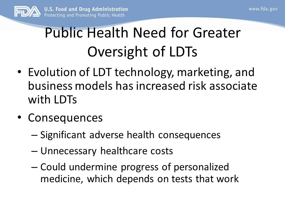 Public Health Need for Greater Oversight of LDTs