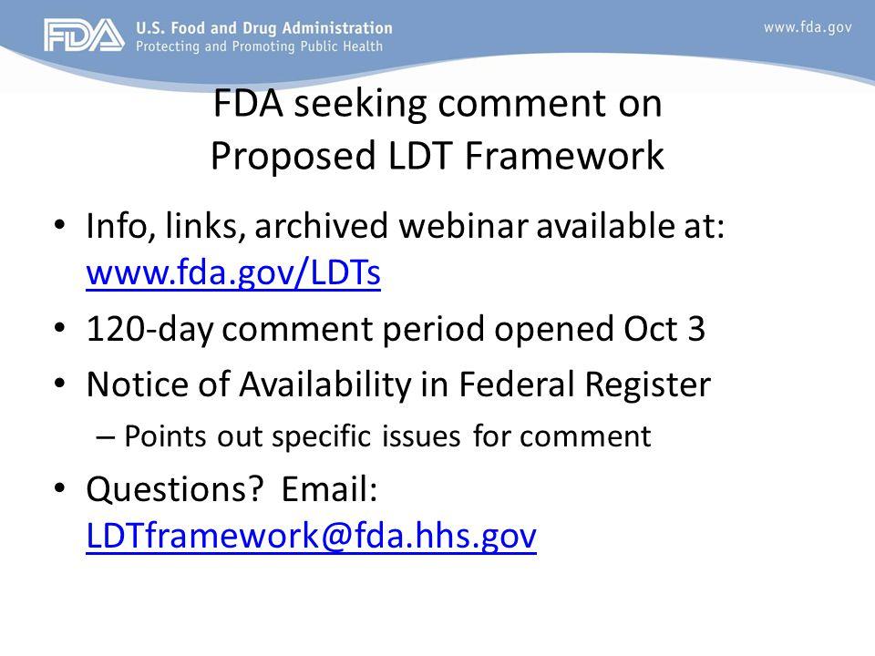 FDA seeking comment on Proposed LDT Framework
