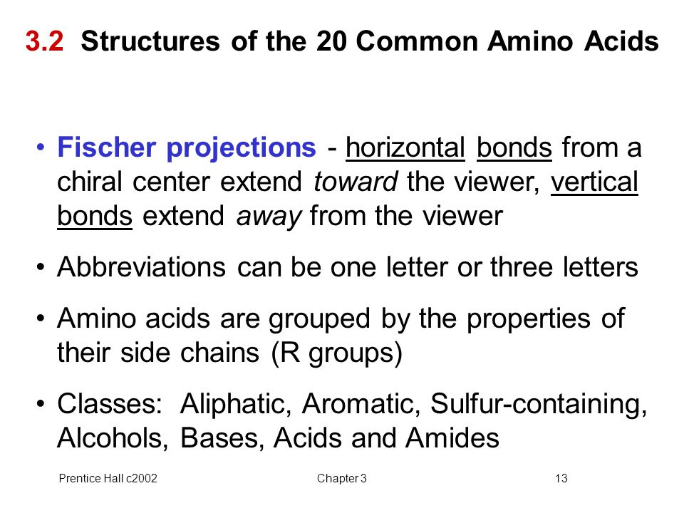 3.2 Structures of the 20 Common Amino Acids