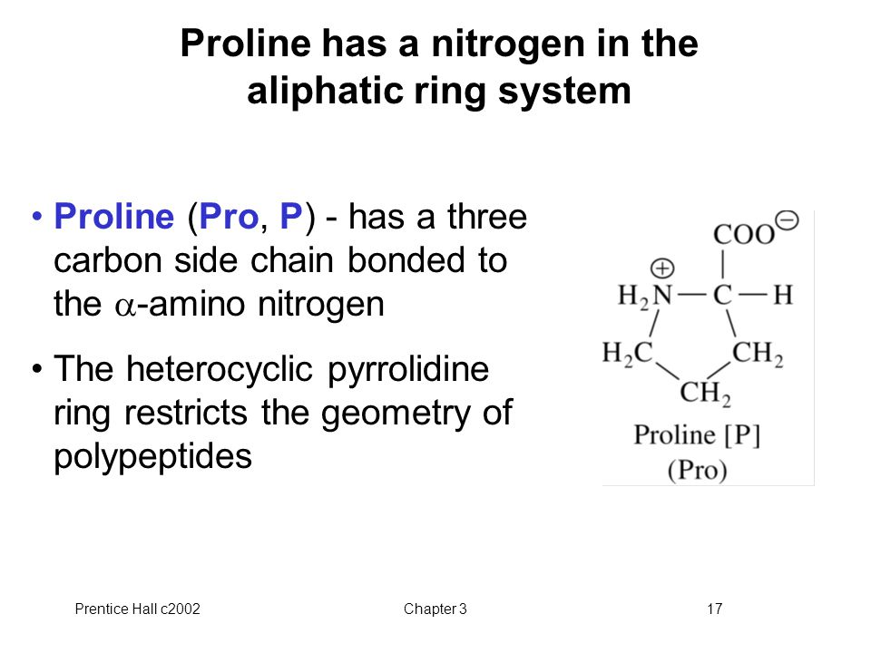 Proline has a nitrogen in the aliphatic ring system