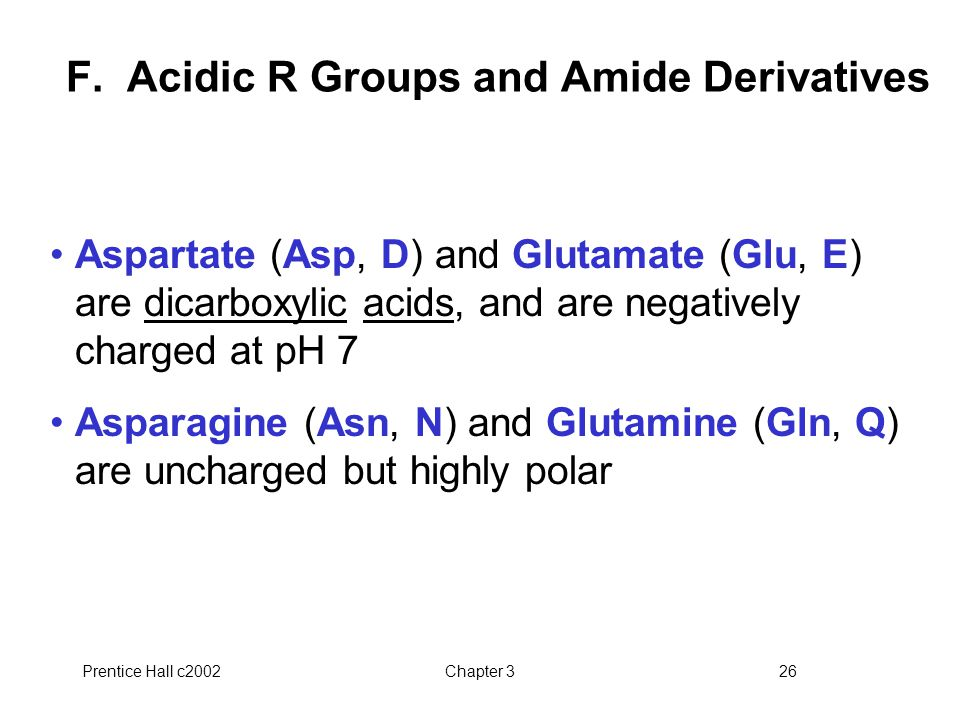 F. Acidic R Groups and Amide Derivatives