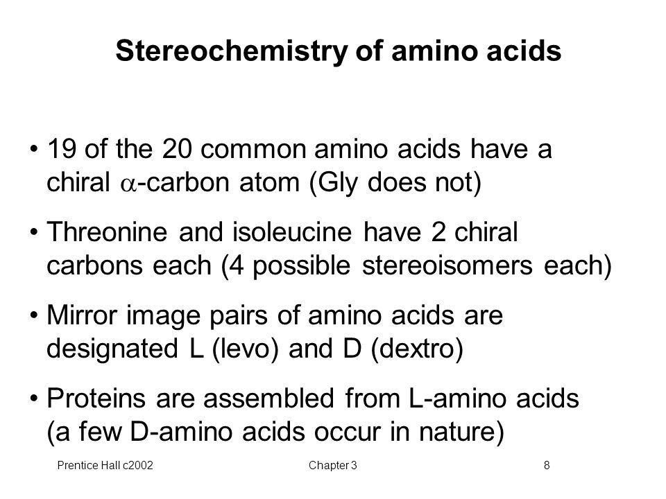 Stereochemistry of amino acids