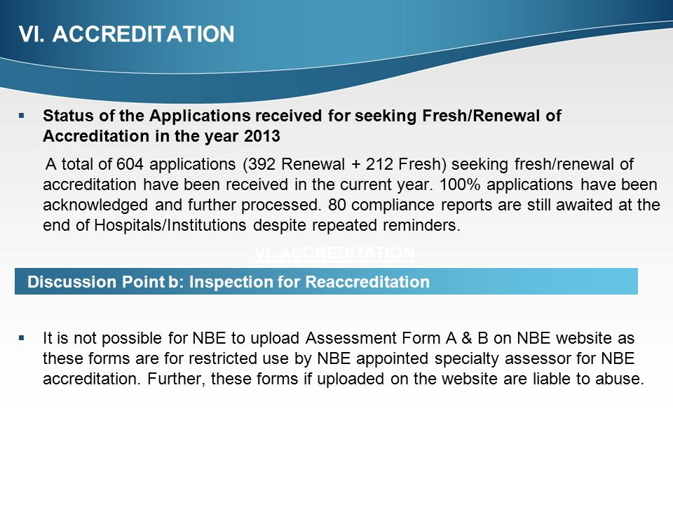 VI. ACCREDITATION Status of the Applications received for seeking Fresh/Renewal of Accreditation in the year 2013.