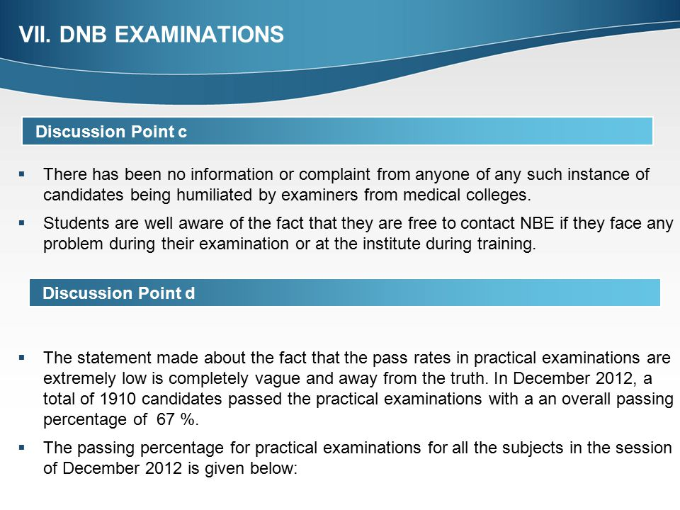 VII. DNB EXAMINATIONS Discussion Point c