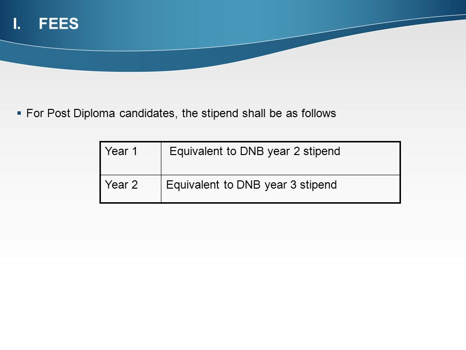 FEES For Post Diploma candidates, the stipend shall be as follows