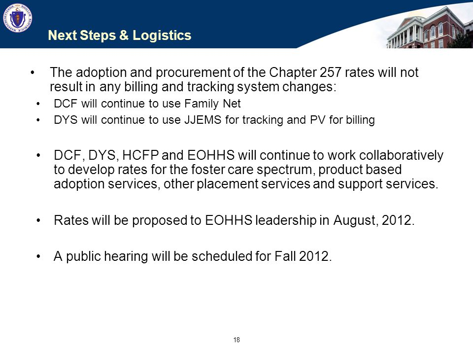 Rates will be proposed to EOHHS leadership in August, 2012.