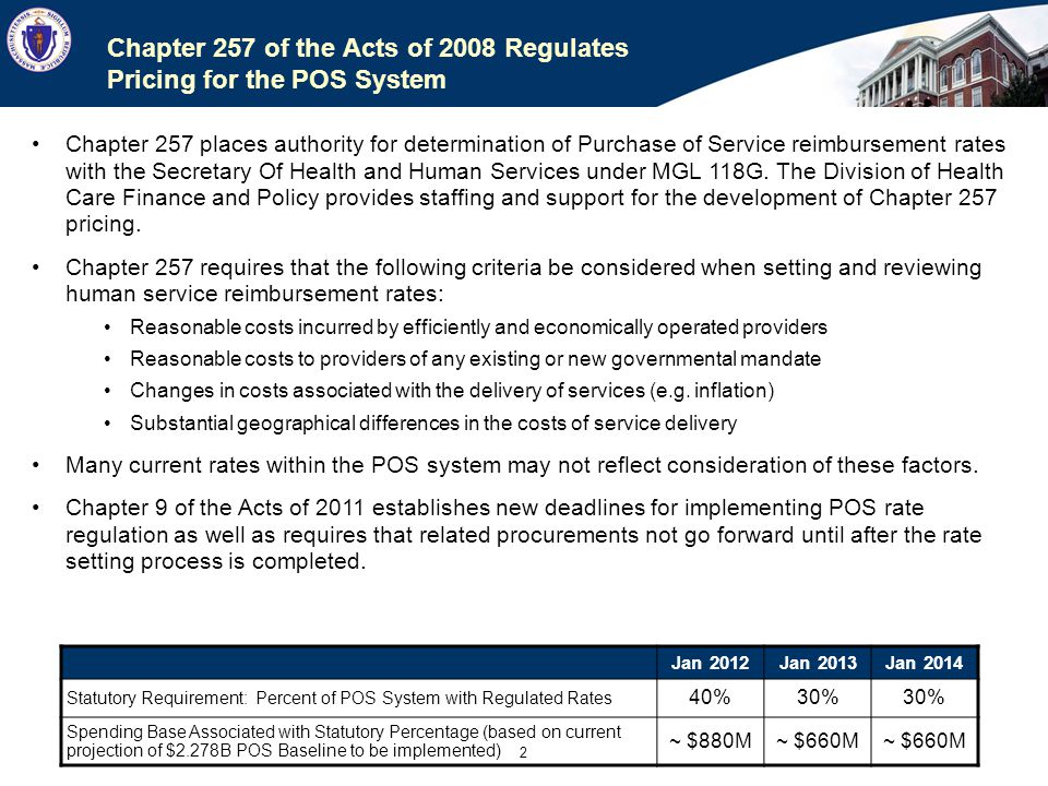 Chapter 257 of the Acts of 2008 Regulates Pricing for the POS System