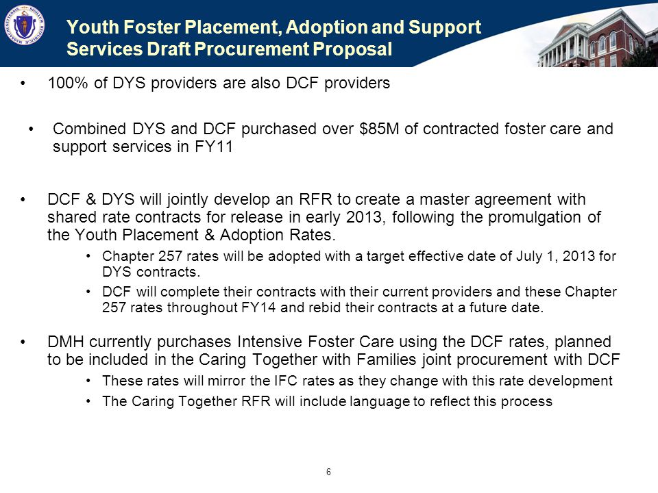 Youth Foster Placement, Adoption and Support Services Draft Procurement Proposal