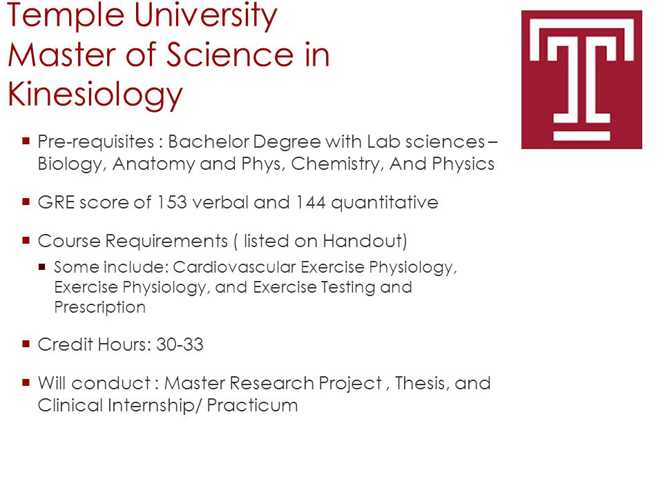 Temple University Master of Science in Kinesiology