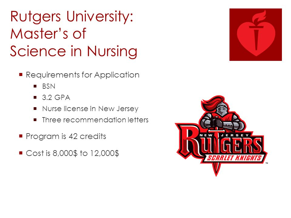 Rutgers University: Master's of Science in Nursing